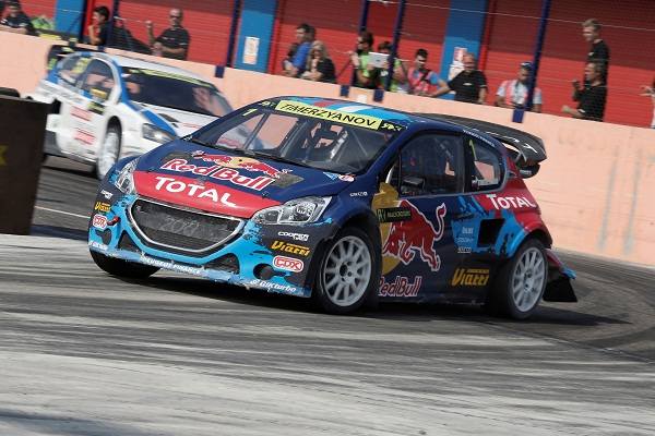 Timur Timerzyanov (Team Peugeot-Hansen) performs during the Round 10 FIA World Rallycross Championship in Franciacorta, Italy on September 28th, 2014