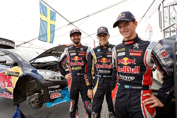 Timur Timerzyanov, Timmy Hansen (Team Peugeot-Hansen) and Kevin Hansen (Hansen Junior Team) pose for a portrait during the Round 10 FIA World Rallycross Championship in Franciacorta, Italy on September 27th, 2014