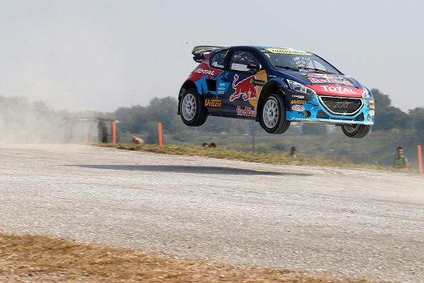 Timur Timerzyanov (Team Peugeot-Hansen) performs during the Round 10 FIA World Rallycross Championship in Franciacorta, Italy on September 27th, 2014