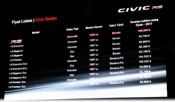 Honda Civic Fiyat Listesi