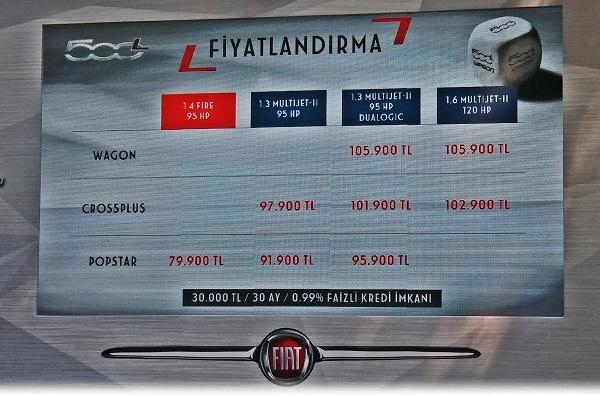 Fiat 500L SUV Lansman fiyat listesi
